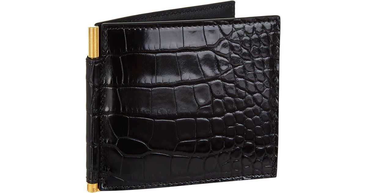 dd12c60e19fd92 Lyst Tom Ford Alligator Money Clip Bifold Wallet In Black For Men