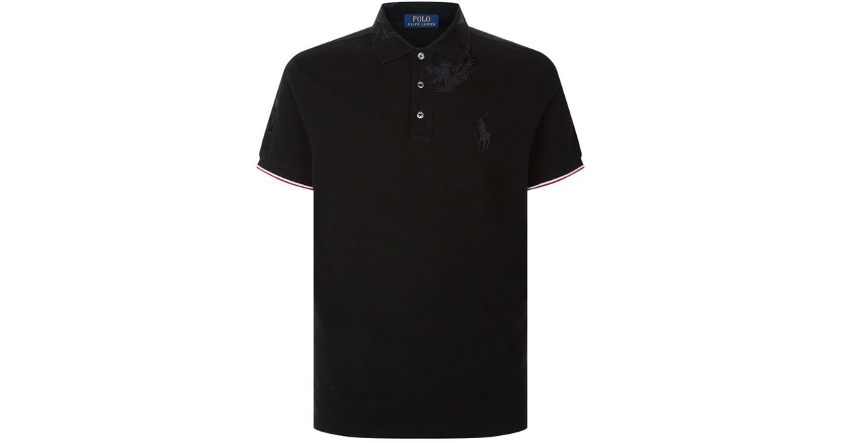 5b69b00bbd8b Polo Ralph Lauren Dragon Embroidered Polo Neck Top in Black for Men - Lyst