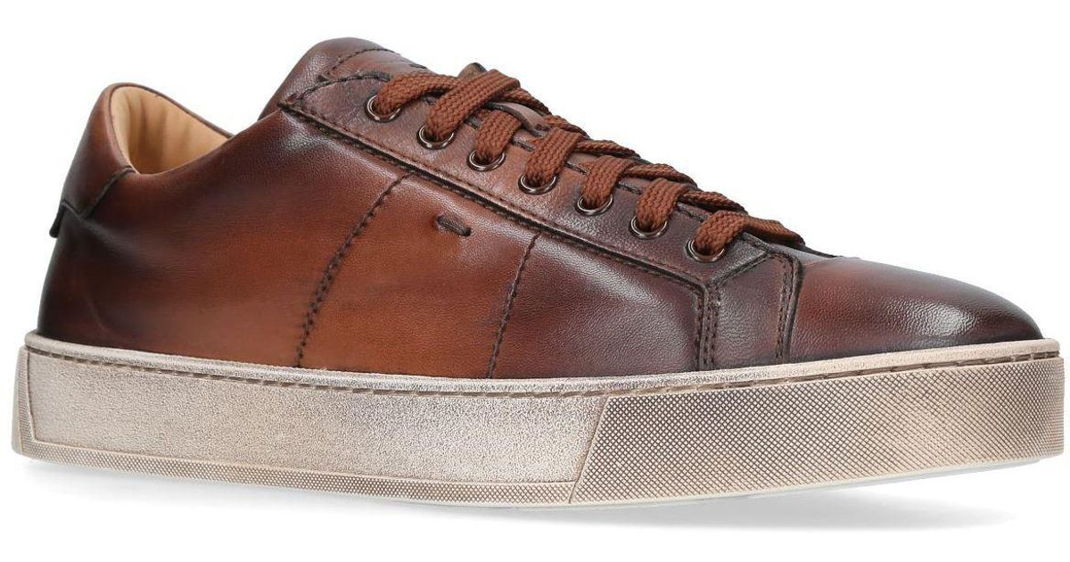 d27f6b6be4848 Lyst - Santoni Gloria Soft Leather Sneakers in Brown for Men