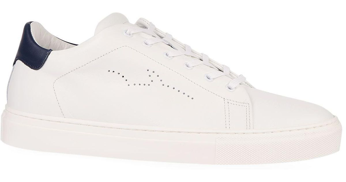 Shark Leather Logo Perforated Sneakers