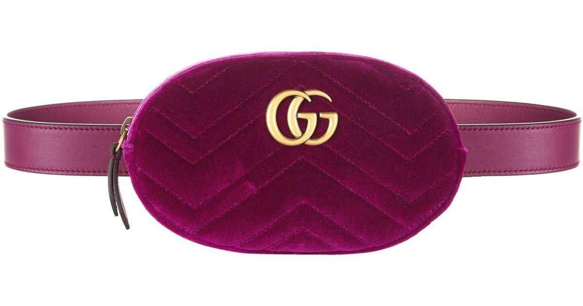 4e24e9fa7ed7 Gucci Marmont Velvet Belt Bag in Pink - Lyst