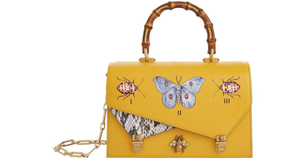 Gucci Yellow Ottilia Erfly Top Handle Bag