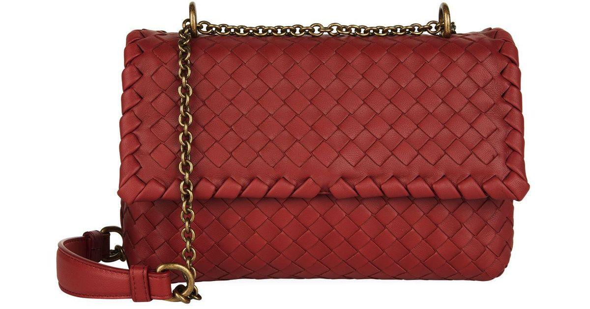 88de2ac223 Bottega Veneta Baby Olimpia Shoulder Bag in Red - Lyst