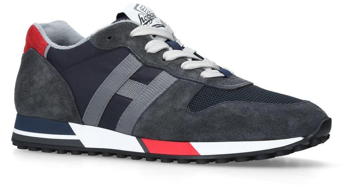 Hogan Suede H86 Runner Sneakers in Navy