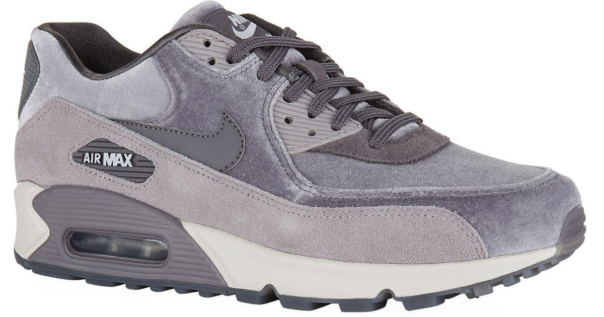 Nike Womens Air Max 90 LX velvet and suede sneakers Gray, Gray Sneakers