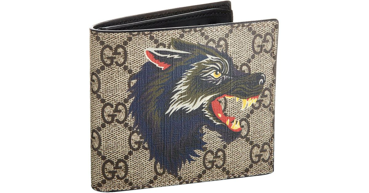 15e808e48d2a Gucci Wolf Bifold Wallet in Natural for Men - Lyst