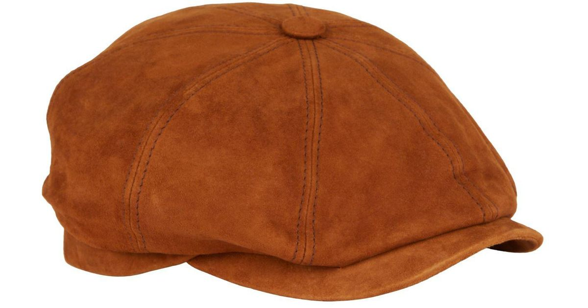 b71cc6936 Stetson Natural Hatteras Suede Flat Cap for men
