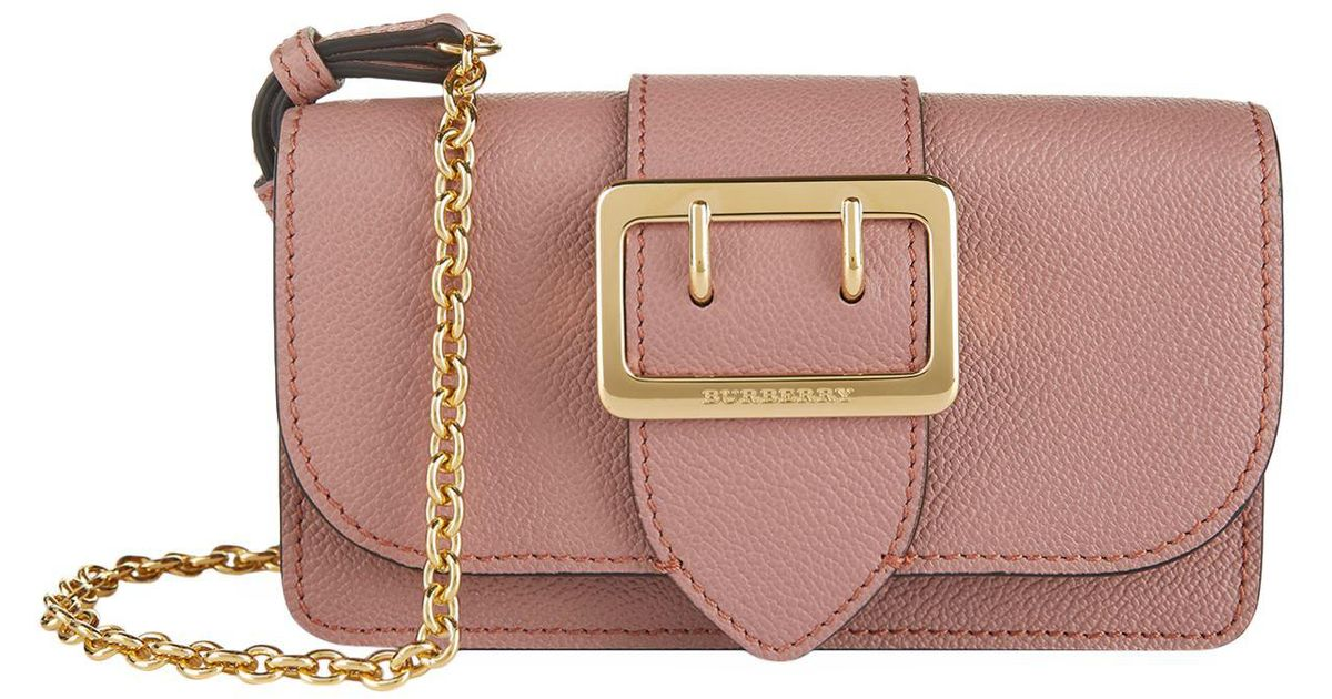 0498e3afab87 Burberry Mini Buckle Bag With House Check in Pink - Lyst