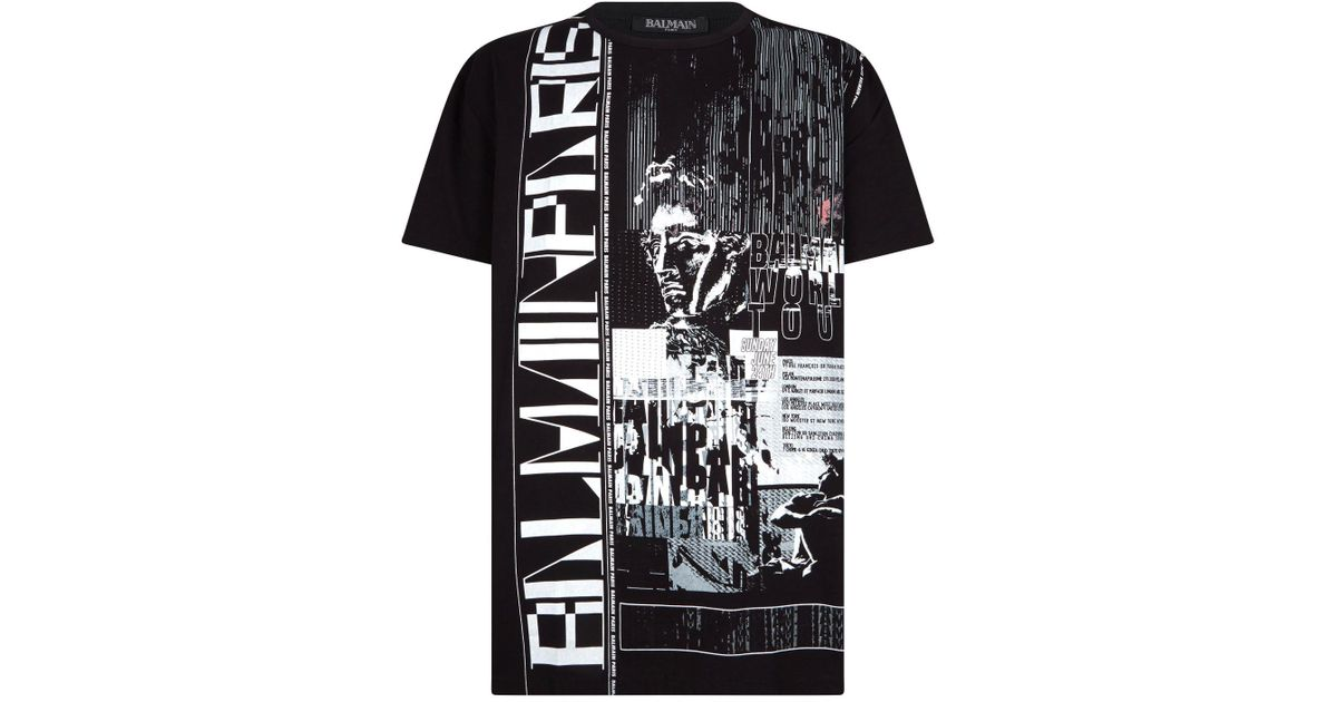 94a54e89 Lyst - Balmain Cotton World Tour T-shirt in Black for Men