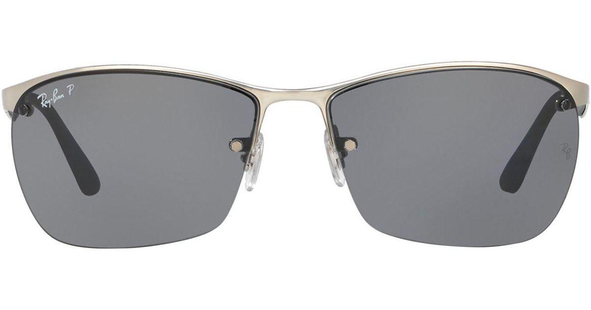 Lyst - Ray-Ban Half-frame Sunglasses in Metallic