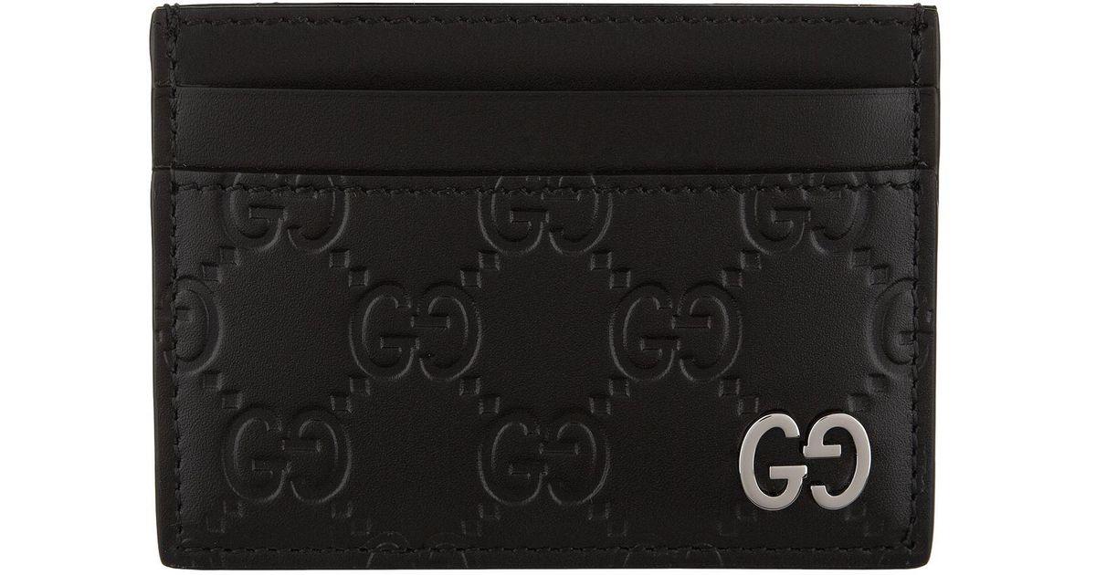 071f5394 Gucci Black Dorian Gg Embossed Leather Card Holder for men