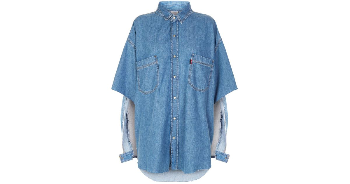 db65f0e6276 Lyst - Vetements Oversized Denim Shirt in Blue