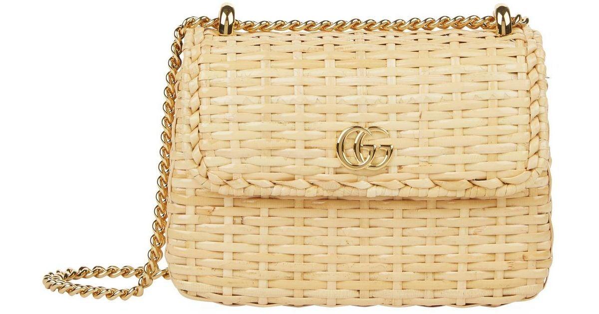 ea88a33ae Gucci Mini Wicker Shoulder Bag in Natural - Lyst
