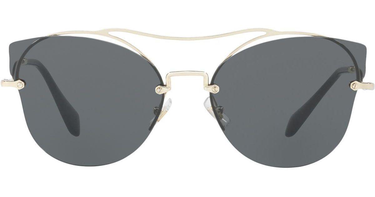 24eb64d64b3 Lyst - Miu Miu Scenique Butterfly Sunglasses in Gray - Save 22%