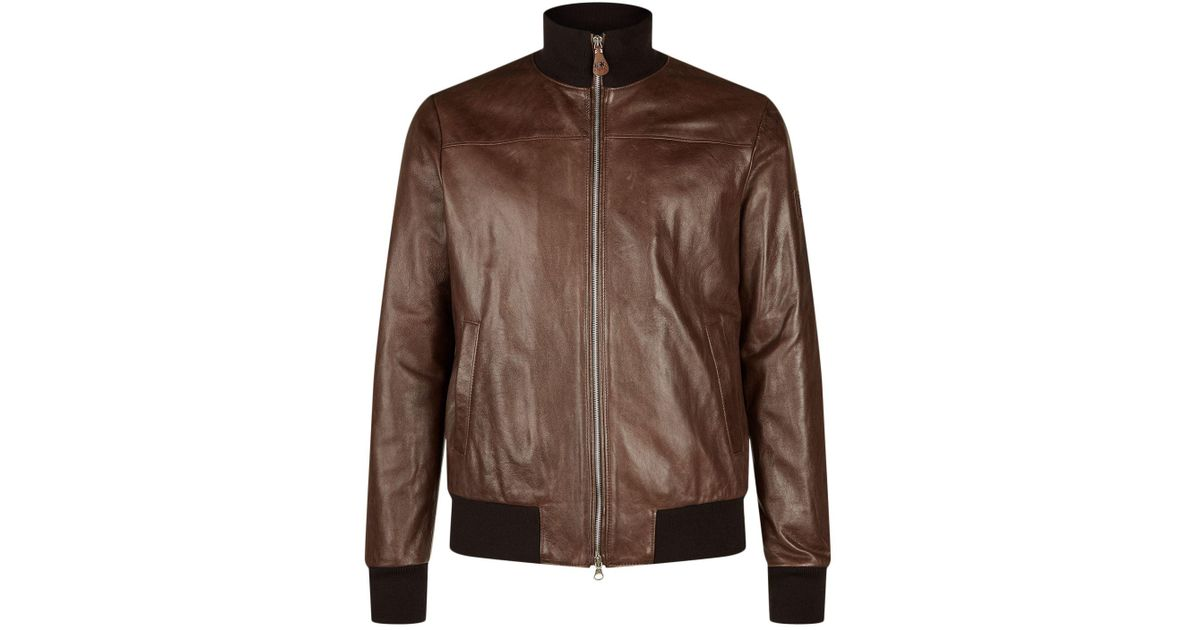 la martina leather waxed jacket in brown for men lyst. Black Bedroom Furniture Sets. Home Design Ideas