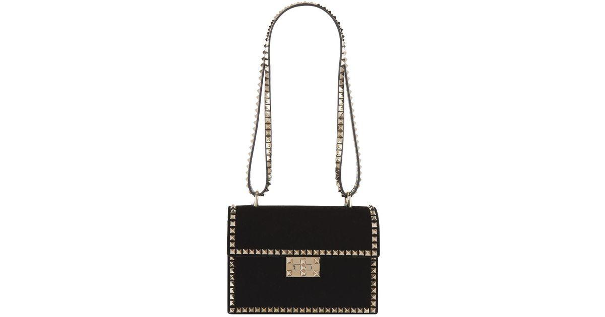 9176b42333d Valentino Velvet Rockstud No Limit Shoulder Bag in Black - Lyst