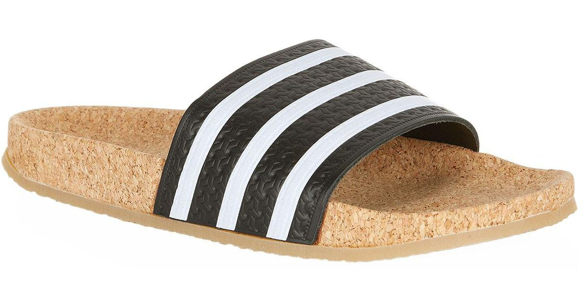 54fef4690b5 Lyst - adidas Originals Adilette Cork Slides in Black