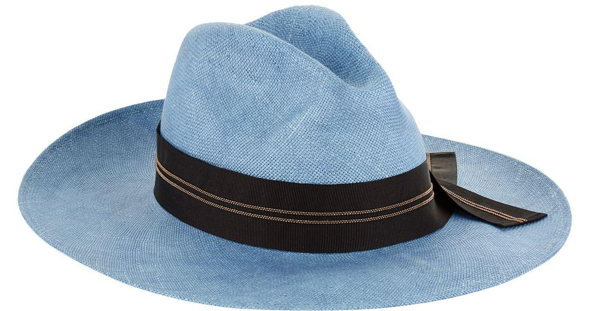 10309803ad4 Lyst - Brunello Cucinelli Embellished Ribbon Hat in Blue