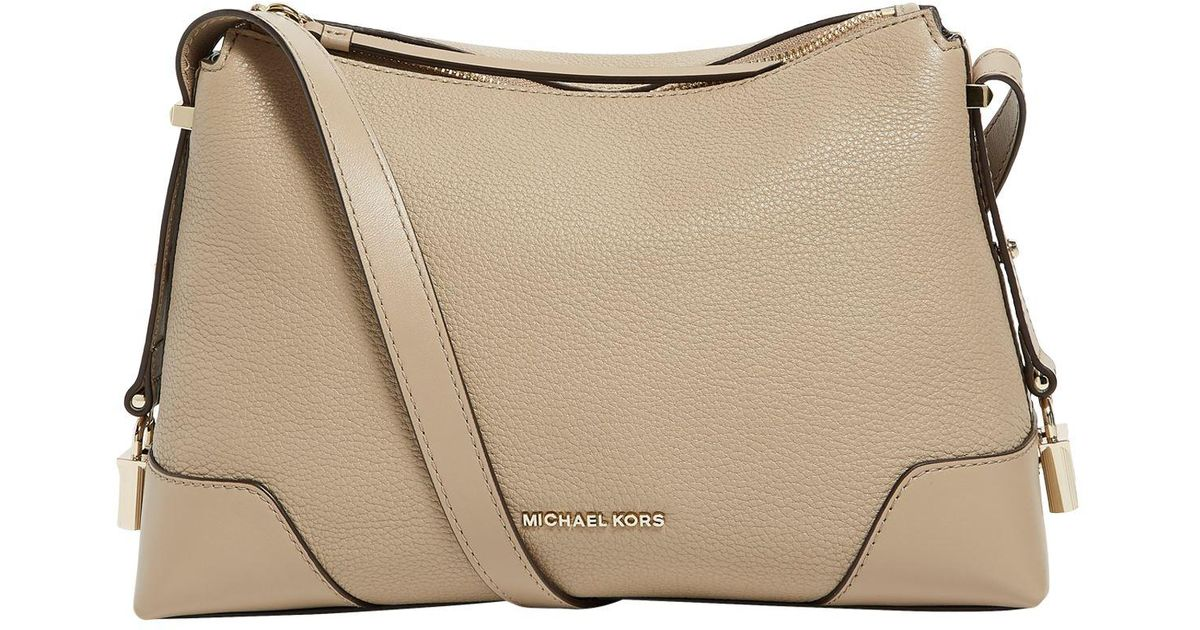 186dc23e5cc7 Lyst - MICHAEL Michael Kors Grained Leather Crosby Messenger Bag in Brown