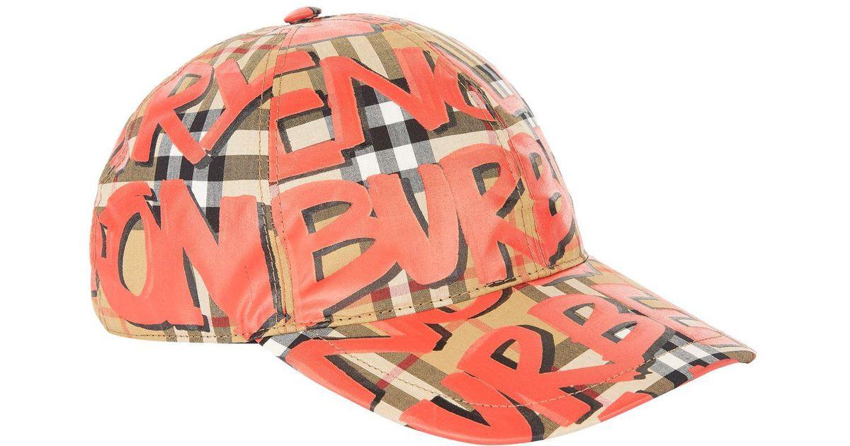 cda17bd9589 Burberry Graffiti Vintage Check Baseball Cap in Red - Lyst