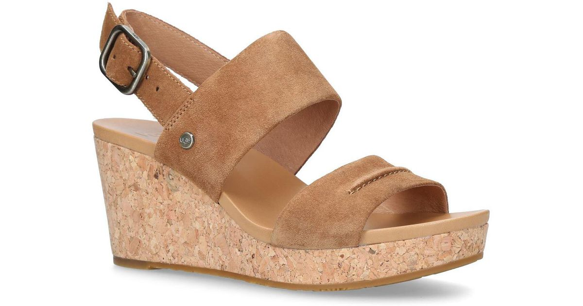 4c9f57cdf70 Ugg Brown Elena Ii Wedge Sandals