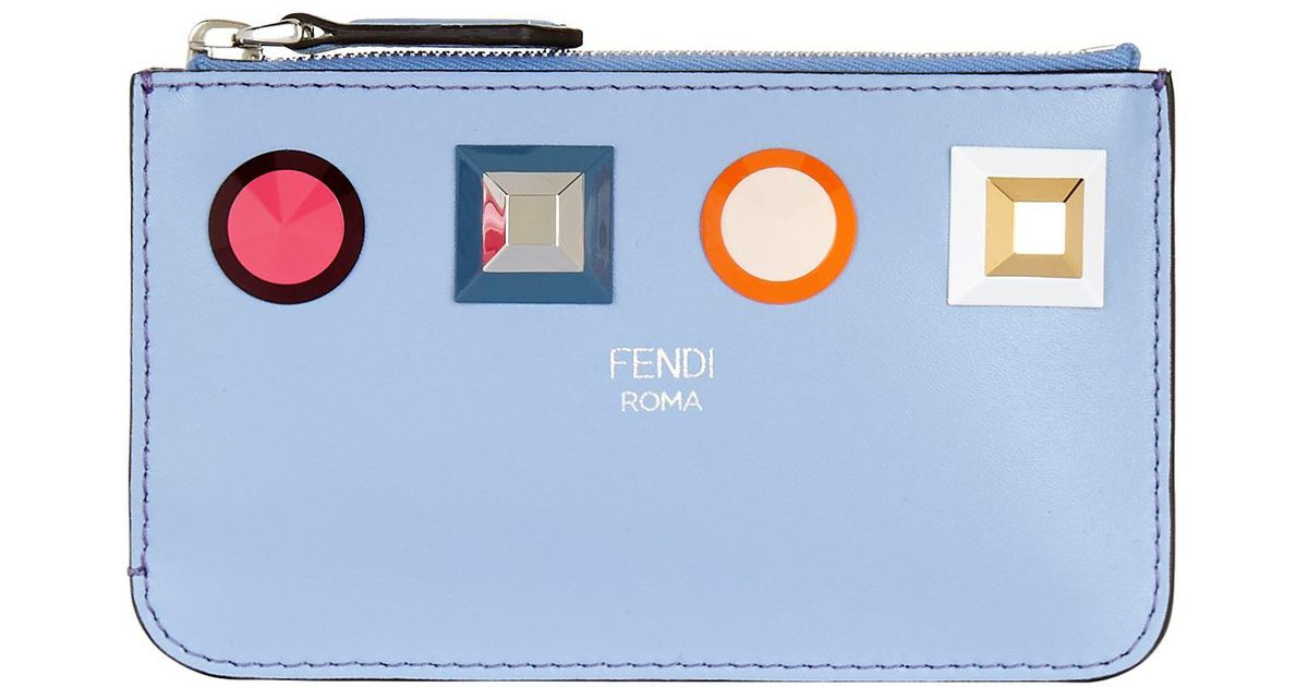 6188d3c334e0 Fendi Leather Stud Embellished Keyring Pouch in Blue - Lyst