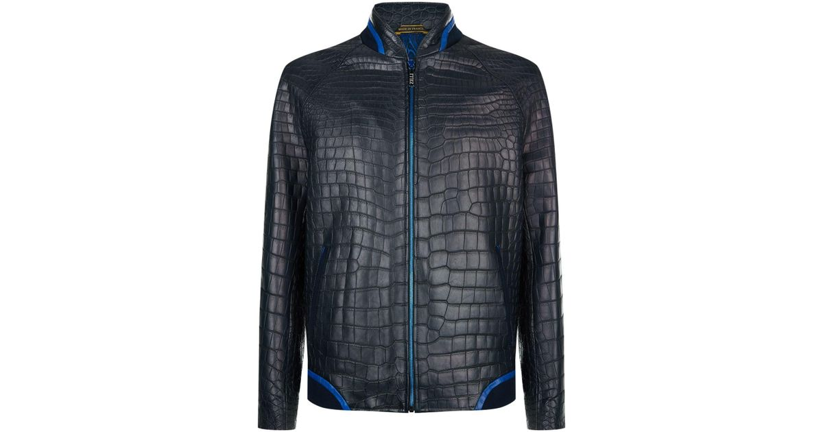 Zilli Jacket Blue For Bomber Crocodile Leather Men n0kw8OPX