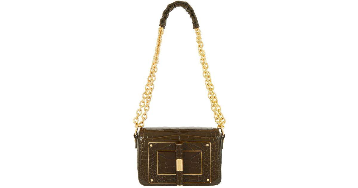 f027d815f611 Lyst - Tom Ford Small Crocodile Natalia Chain Shoulder Bag in Green