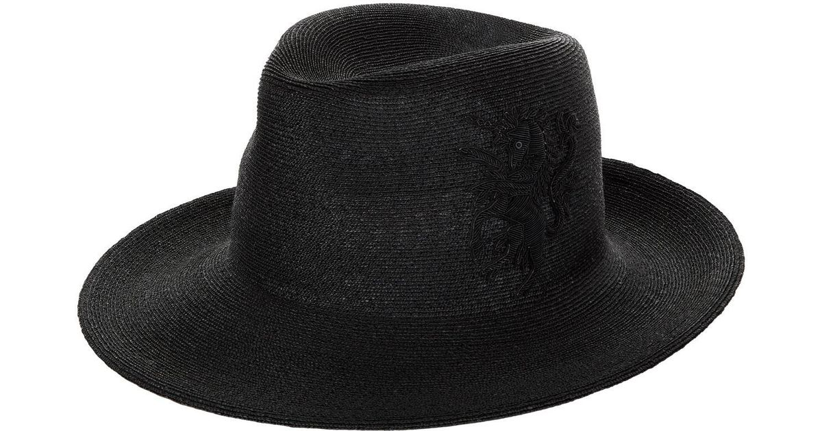 Lyst - Philip Treacy Logo Embroidered Fedora Hat in Black for Men 695158132b7
