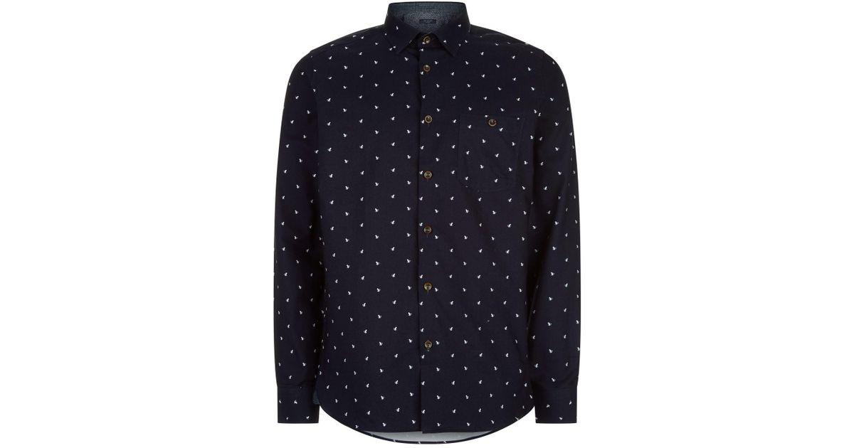 4aba79b7d Ted Baker Chimsky Monkey Print Shirt in Blue for Men - Lyst