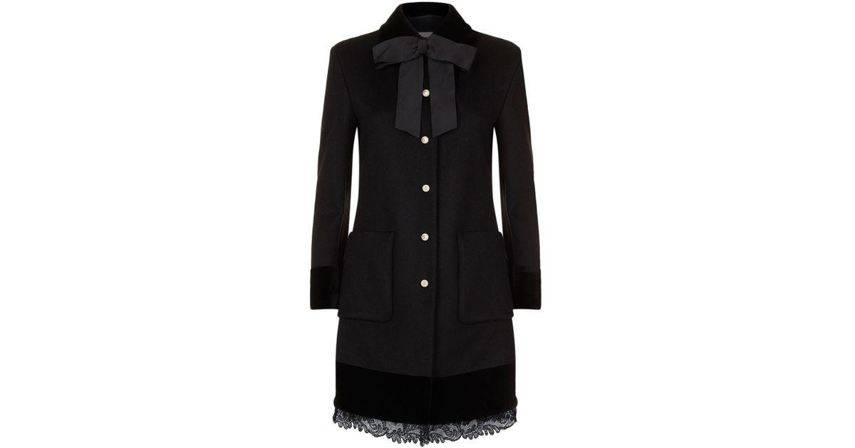 e374e15e9752a Lyst - Gucci Velvet Trim Wool Coat in Black