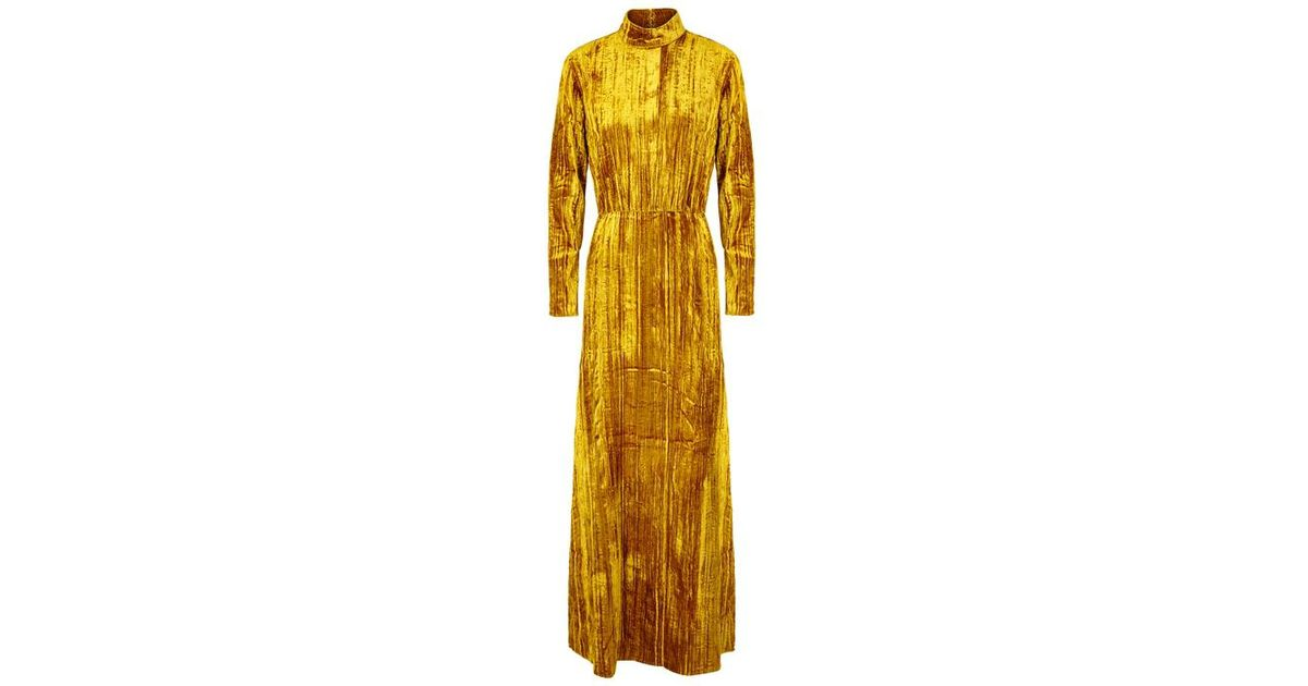 71ca829a138 Stine Goya Liv Golden Ochre Velvet Maxi Dress in Metallic - Lyst