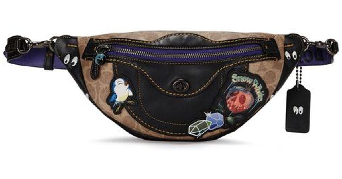 COACH X Disney Appliquéd Leather Belt Bag in Black - Lyst