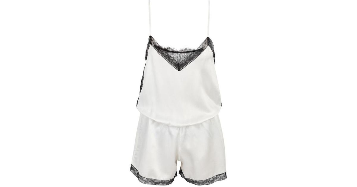 efc0388874a Morpho + Luna Capucine Lace-trimmed Washed Silk Playsuit in White - Lyst