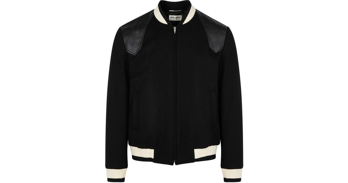 a86c2f0b6 Saint Laurent Teddy Black Wool-blend Bomber Jacket for men