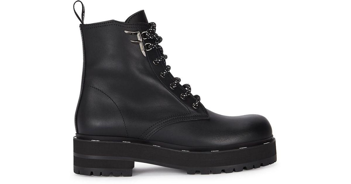Fendi 50 Black Leather Biker Boots - Lyst