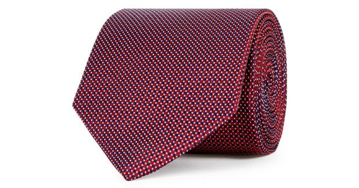 Purple and Orange Floral and Puppytooth Jacquard Weave Silk Tie Turnbull & Asser TEyP79LS2