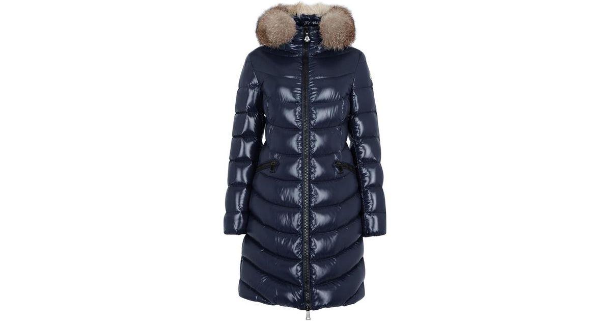 854992ea9 Moncler Blue Aphia Navy Fur-trimmed Coat