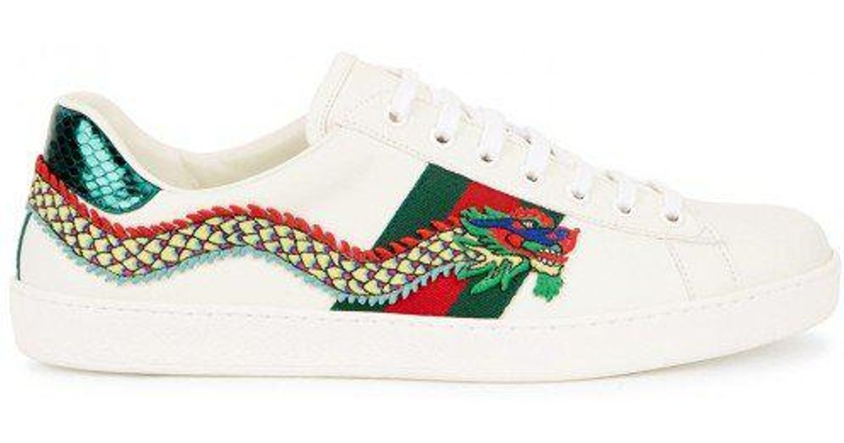42fc8300437 Gucci Ace Dragon-appliquéd Leather Trainers in White for Men - Lyst
