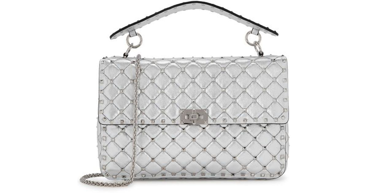 6b4ce0058d9c Valentino Rockstud Spike Large Silver Leather Shoulder Bag in Metallic -  Lyst