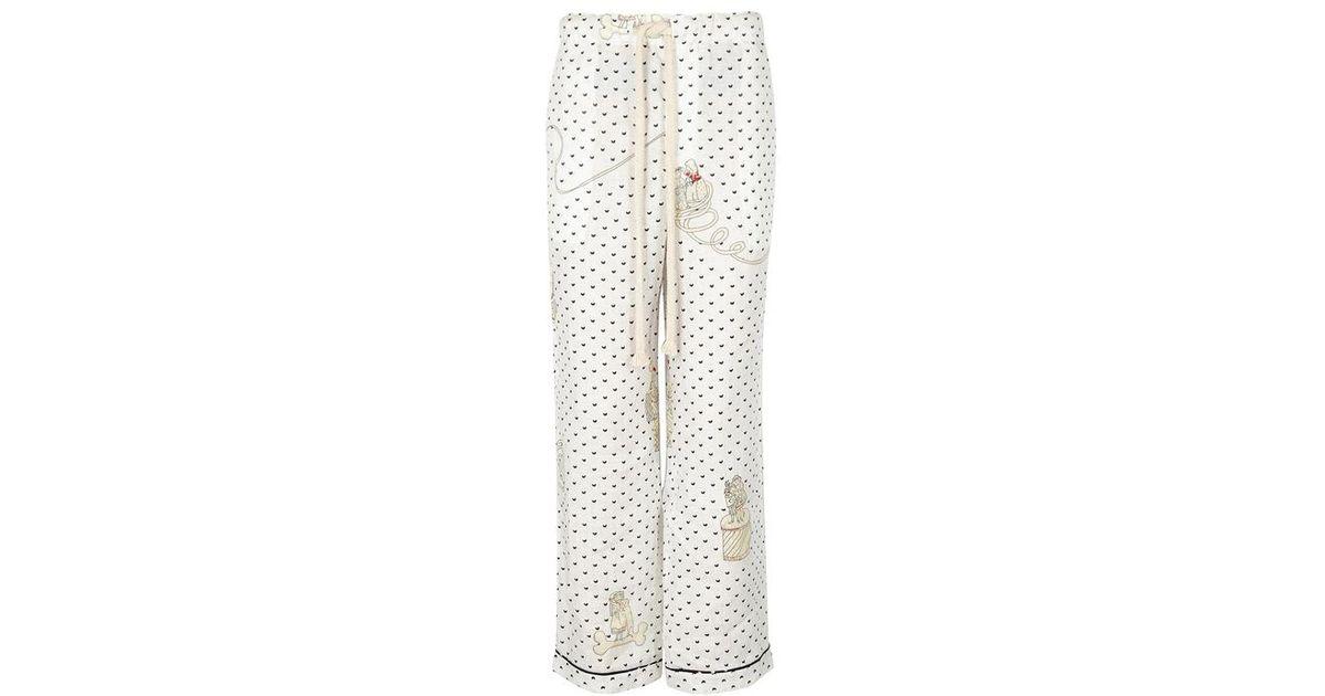 Loewe x paulas ibiza printed linen trousers in white lyst