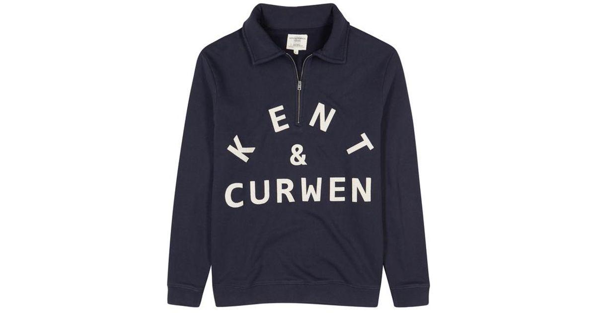 Kent & curwen avington logo appliqué cotton sweatshirt in blue for