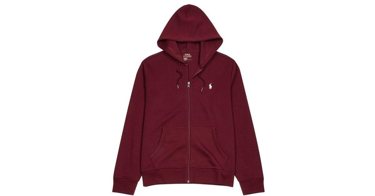 1a4b244807e11 Polo Ralph Lauren Bordeaux Hooded Jersey Sweatshirt in Red for Men - Lyst