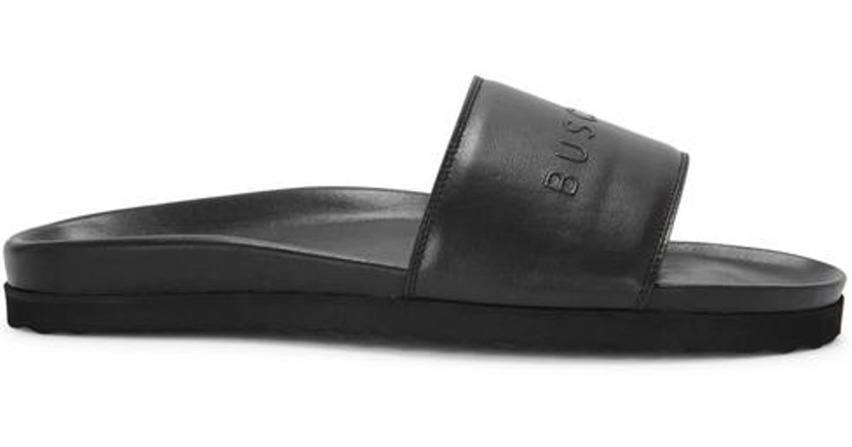 415f9e1e1 Buscemi Slides Sport Logo Leather Sliders in Black for Men - Lyst