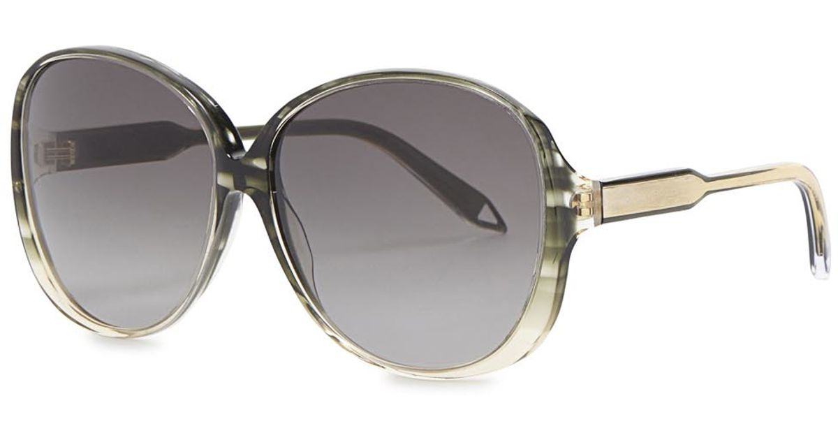 Victoria beckham Large Fine Oval-frame Sunglasses in Gray ...
