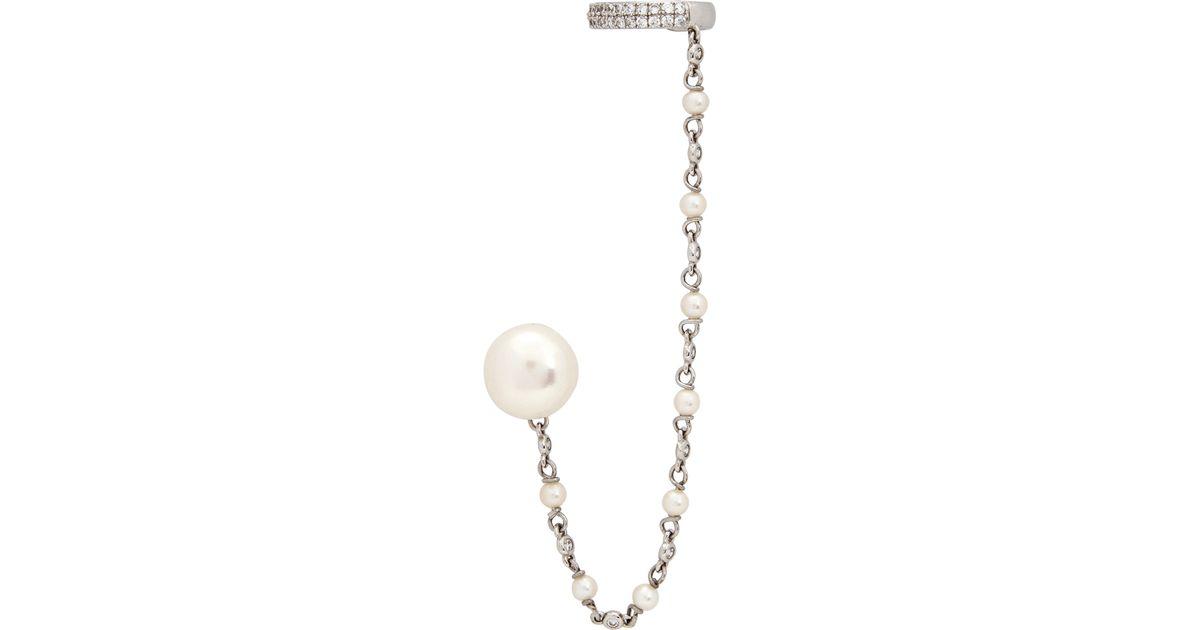 apm monaco faux pearl stud and cuff earring in metallic lyst