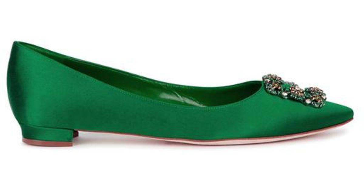 db476442808 ... new zealand lyst manolo blahnik hangisi 10 emerald green satin flats in  green d2a25 18d64