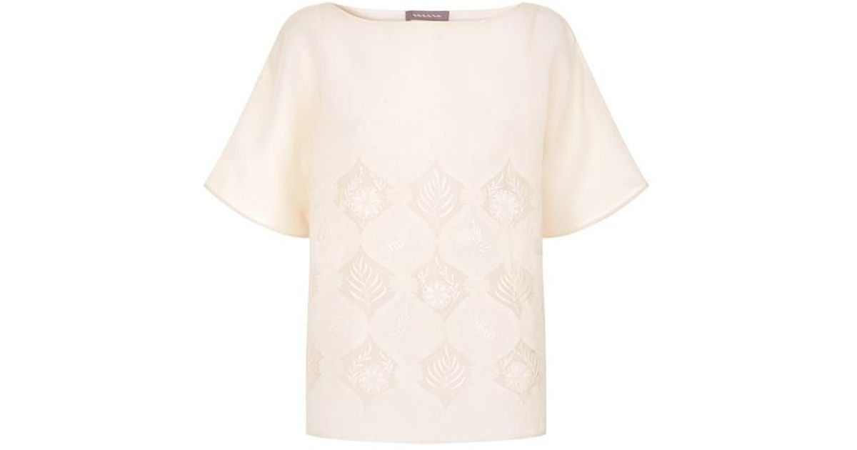 Varana white applique organza blouse in white lyst
