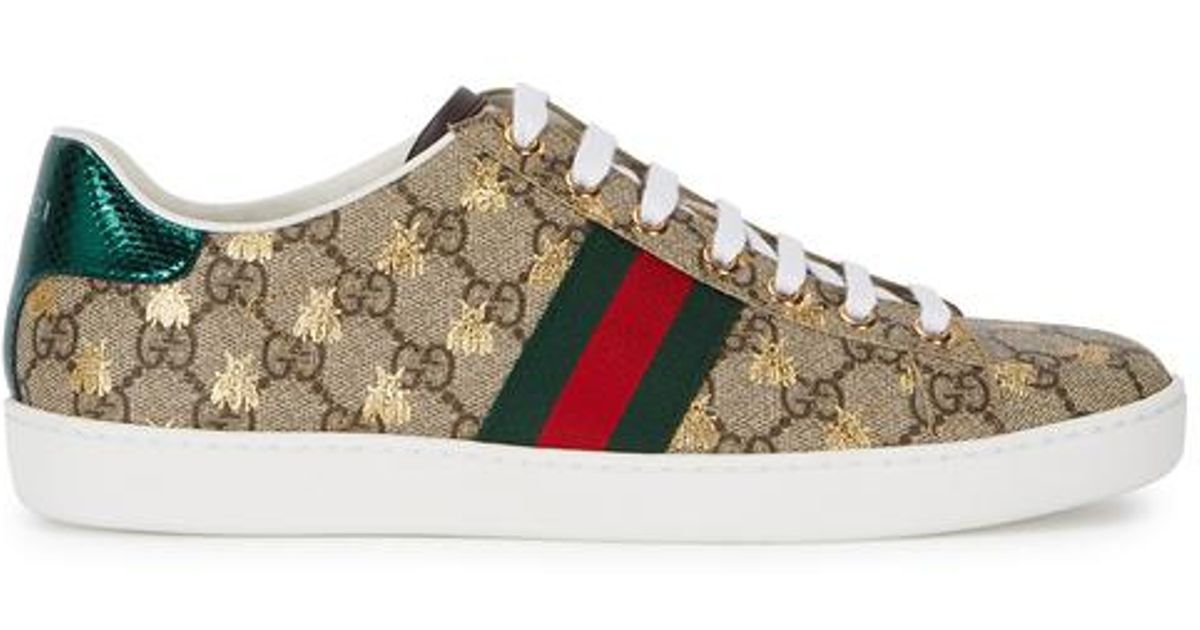 fab40c943 Gucci Beige GG Supreme Ace Bee Sneakers in Natural - Lyst