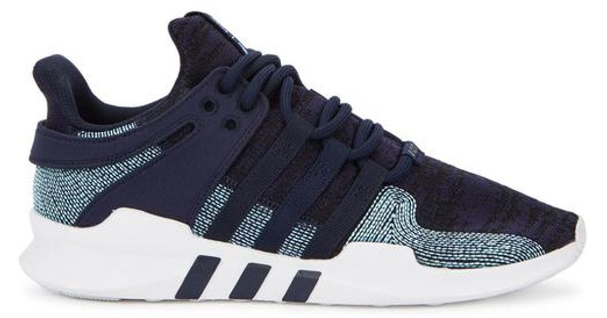 new concept fdf26 a1973 Adidas Originals Blue X Parley Eqt Support Adv Navy Knitted Trainers for men